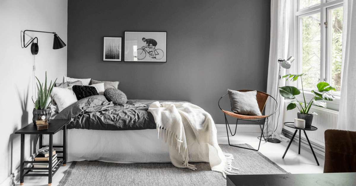 chambre, gris, noir, blanc, déco, décoration, super-deco